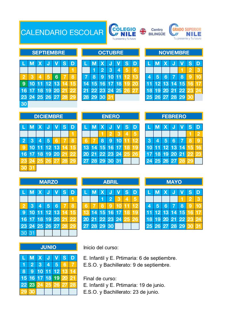 Calendario Escolar Madrid 2019 Y 2020.Calendario Escolar Colegio Nile